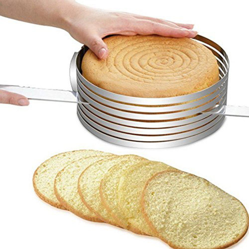 Stainless Steel Circular 9.5inch-12inch Adjustable 7 Layers Mousse Ring Cake Bread Slicer Cutter Mould Baking Tool adjustable heart shaped cake cutter ring mold