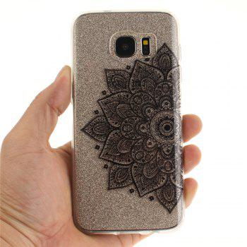 Black half flower Soft Clear IMD TPU Phone Casing Mobile Smartphone Cover Shell Case for Samsung Galaxy S7 Edge - BLACK