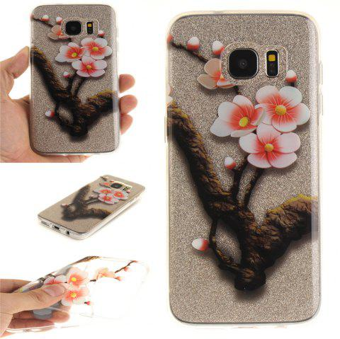 The Four Plum Flower Soft Clear IMD TPU Phone Casing Mobile Smartphone Cover Shell Case for Samsung Galaxy S7 Edge - ROSE RED