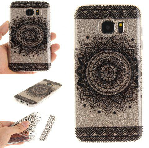 Black Datura Soft Clear IMD TPU Phone Casing Mobile Smartphone Cover Shell Case for Samsung Galaxy S7 Edge - BLACK