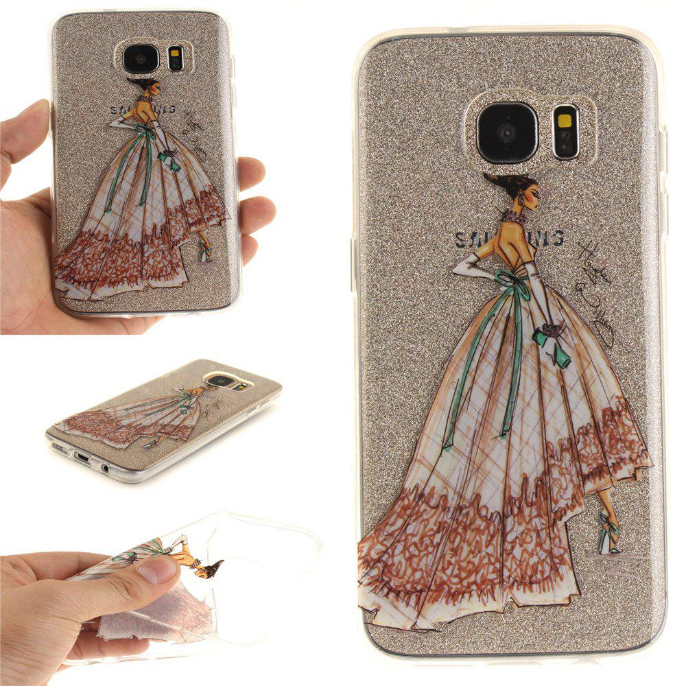 Hand-Painted Dress Soft Clear IMD TPU Phone Casing Mobile Smartphone Cover Shell Case for Samsung Galaxy S7 Edge - COLOUR