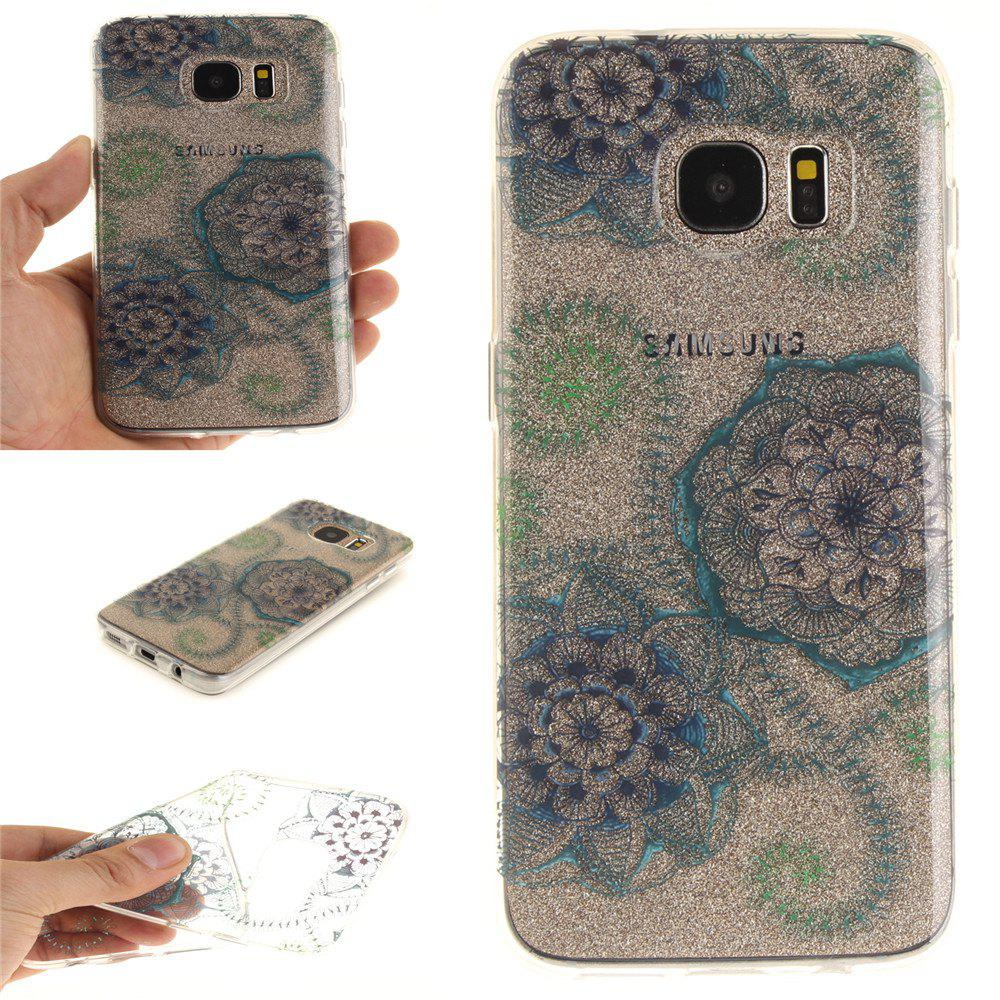 Blue Green Dream Flower Soft Clear IMD TPU Phone Casing Mobile Smartphone Cover Shell Case for Samsung Galaxy S7 Edge - BLUE