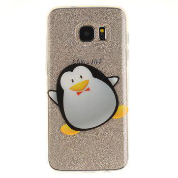 Cartoon Penguin Soft Clear IMD TPU Phone Casing Mobile Smartphone Cover Shell Case for Samsung Galaxy S7 Edge - BLACK
