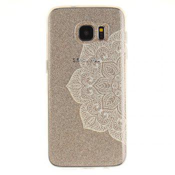 Half of White Flowers Soft Clear IMD TPU Phone Casing Mobile Smartphone Cover Shell Case for Samsung Galaxy S7 Edge - WHITE