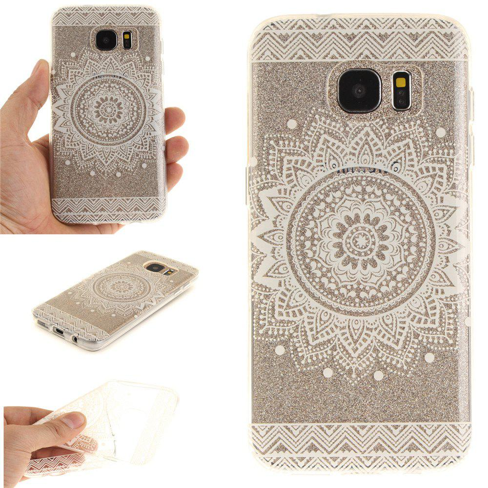 The White Mandala Soft Clear IMD TPU Phone Casing Mobile Smartphone Cover Shell Case for Samsung Galaxy S7 Edge - WHITE