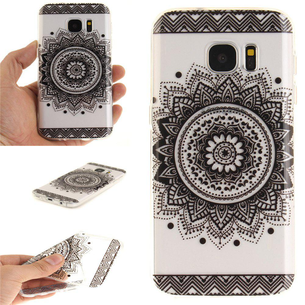 Black Datura Soft Clear IMD TPU Phone Casing Mobile Smartphone Cover Shell Case for Samsung Galaxy S7 - BLACK