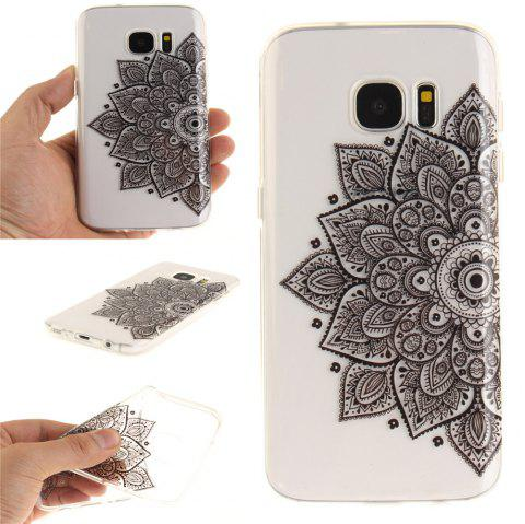 Black Half Flower Soft Clear IMD TPU Phone Casing Mobile Smartphone Cover Shell Case for Samsung Galaxy S7 - BLACK