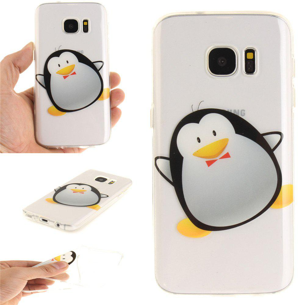 Cartoon Penguin Soft Clear IMD TPU Phone Casing Mobile Smartphone Cover Shell Case for Samsung Galaxy S7 - BLACK