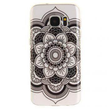 Black Sunflower Soft Clear IMD TPU Phone Casing Mobile Smartphone Cover Shell Case for Samsung Galaxy S7 - BLACK