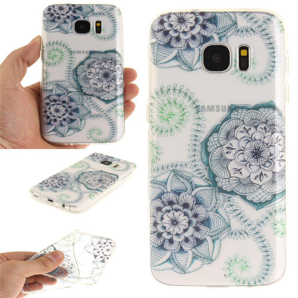 Blue Green Dream Flower Soft Clear IMD TPU Phone Casing Mobile Smartphone Cover Shell Case for Samsung Galaxy S7 - BLUE