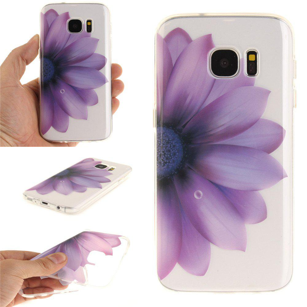 Half The Flower Soft Clear IMD TPU Phone Casing Mobile Smartphone Cover Shell Case for Samsung Galaxy S7 - PURPLE