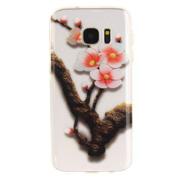The Four Plum Flower Soft Clear IMD TPU Phone Casing Mobile Smartphone Cover Shell Case for Samsung Galaxy S7 - ROSE RED