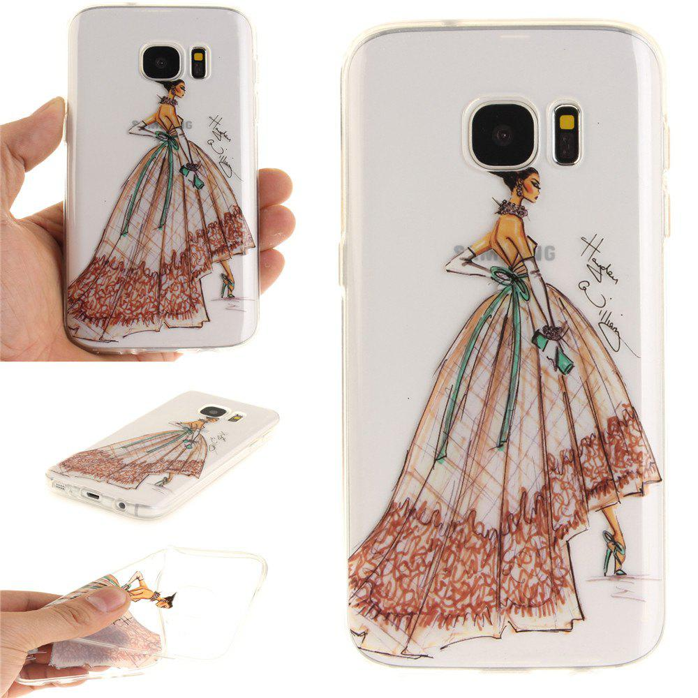 Hand-Painted Dress Soft Clear IMD TPU Phone Casing Mobile Smartphone Cover Shell Case for Samsung Galaxy S7 - COLOUR