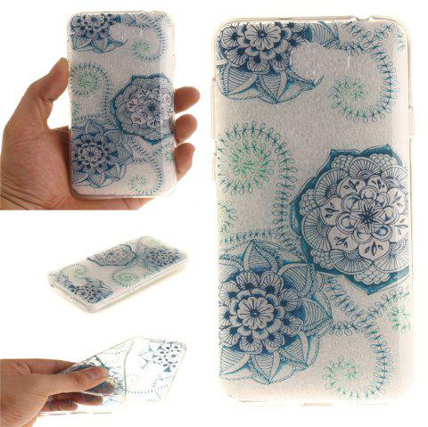 Blue Green Dream Flower Soft Clear IMD TPU Phone Casing Mobile Smartphone Cover Shell Case for Huawei Y5II - BLUE