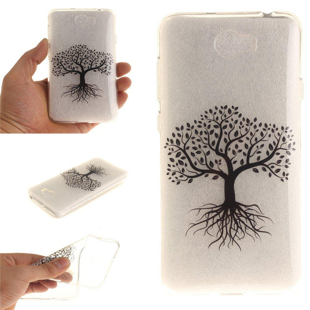 Black Tree Soft Clear IMD TPU Phone Casing Mobile Smartphone Cover Shell Case for Huawei Y5II - BLACK
