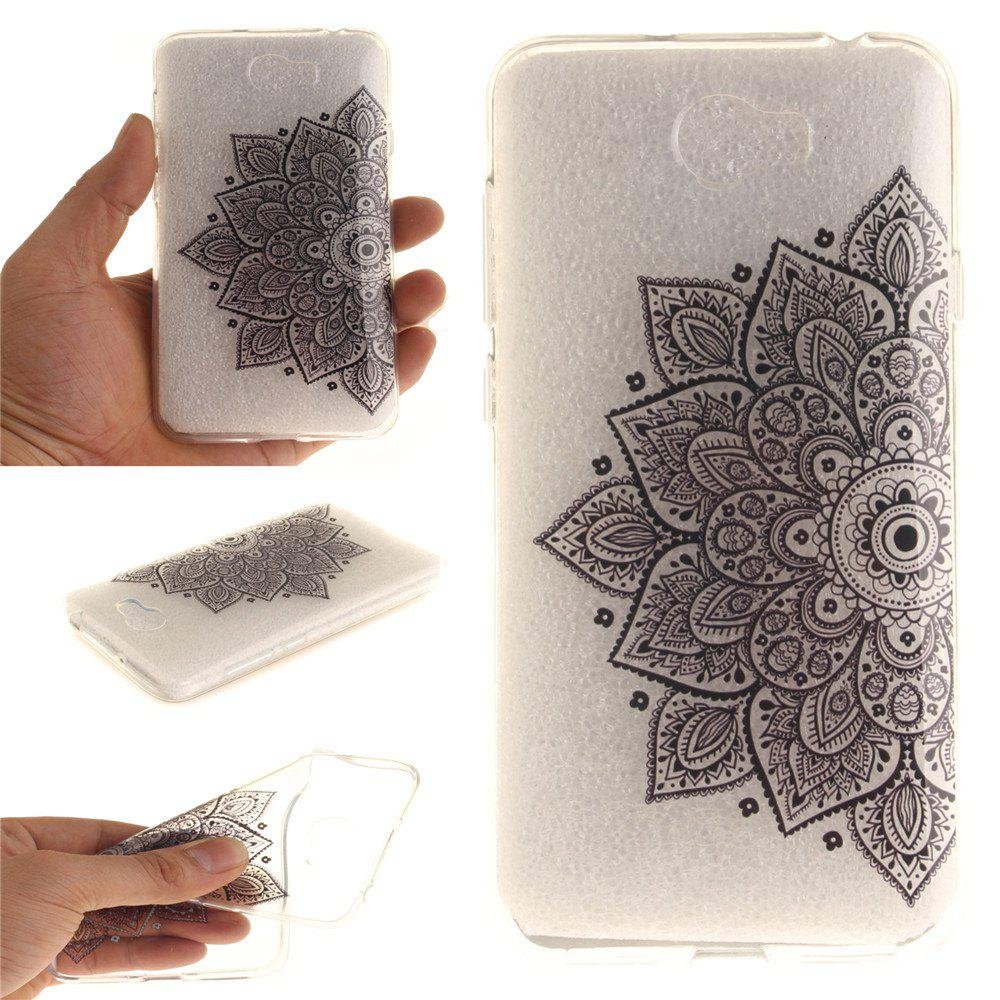 Black Half Flower Soft Clear IMD TPU Phone Casing Mobile Smartphone Cover Shell Case for Huawei Y5II - BLACK