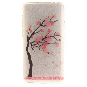 The Red Plum Blossom Soft Clear IMD TPU Phone Casing Mobile Smartphone Cover Shell Case for Huawei Y5II - RED