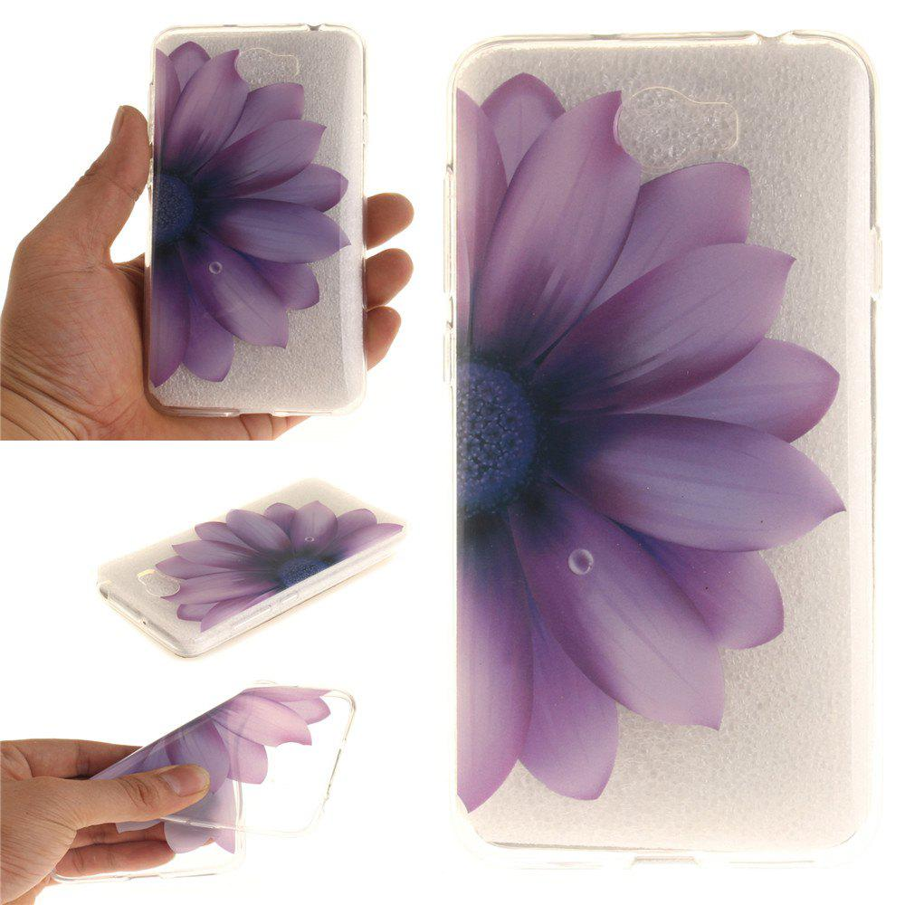 Half the flower Soft Clear IMD TPU Phone Casing Mobile Smartphone Cover Shell Case for Huawei Y5II - DAHLIA