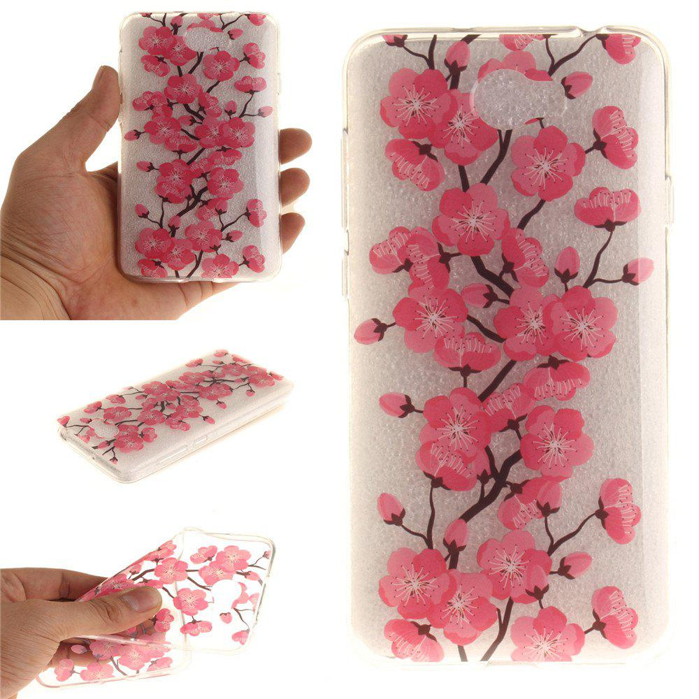 Were Blossoming Flower Soft Clear IMD TPU Phone Casing Mobile Smartphone Cover Shell Case for Huawei Y5II - ROSE RED