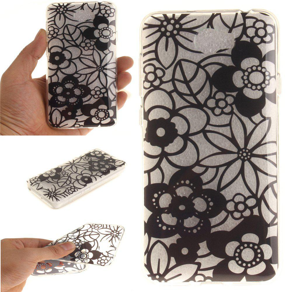 The Sketch Flower Soft Clear IMD TPU Phone Casing Mobile Smartphone Cover Shell Case for Huawei Y5II - BLACK