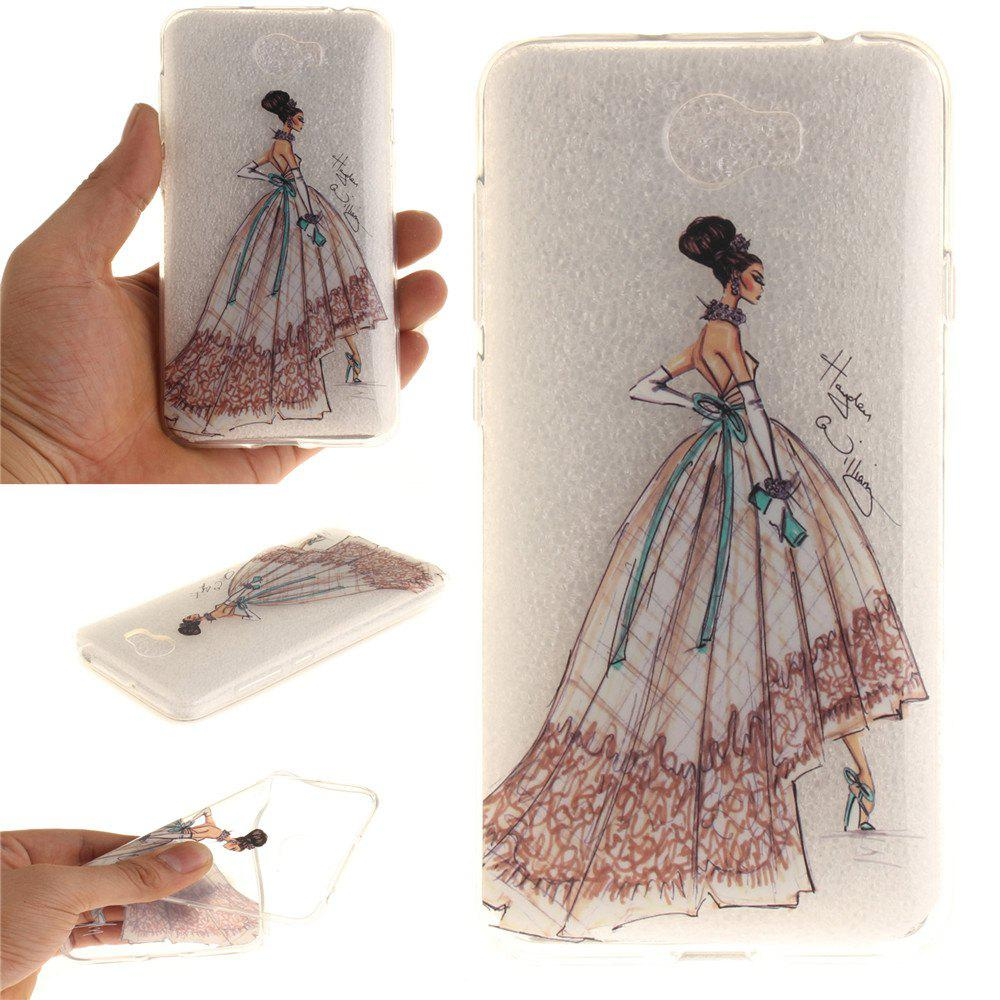 Hand-Painted Dress Soft Clear IMD TPU Phone Casing Mobile Smartphone Cover Shell Case for Huawei Y5II - COLOUR