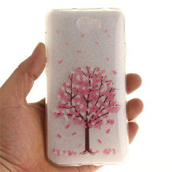 Cherry Tree Soft Clear IMD TPU Phone Casing Mobile Smartphone Cover Shell Case for Huawei Y5II - SANGRIA
