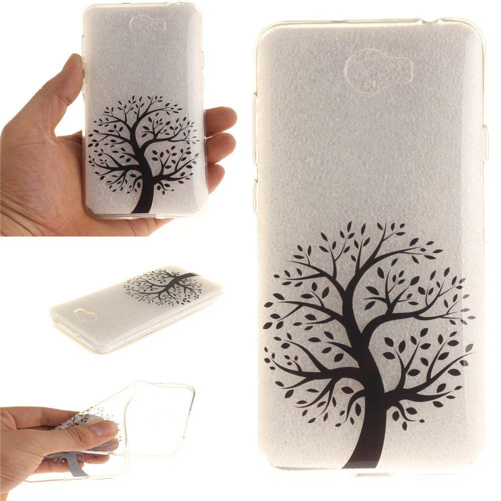 The Round Black Tree Soft Clear IMD TPU Phone Casing Mobile Smartphone Cover Shell Case for Huawei Y5II - BLACK