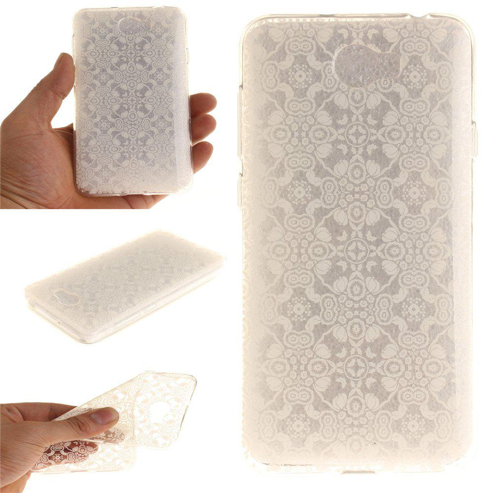 White Lace Soft Clear IMD TPU Phone Casing Mobile Smartphone Cover Shell Case for Huawei Y5II - WHITE