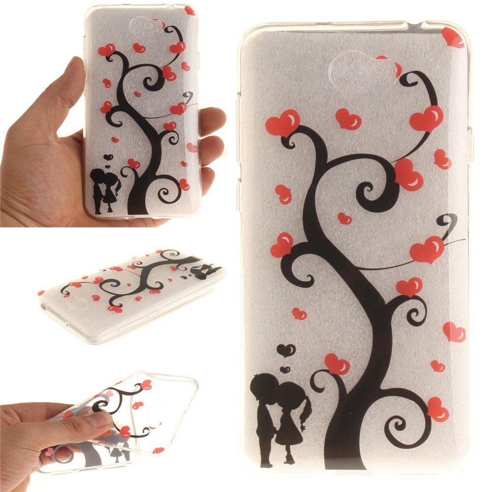 Couples under the tree Soft Clear IMD TPU Phone Casing Mobile Smartphone Cover Shell Case for Huawei Y5II - TRANSPARENT