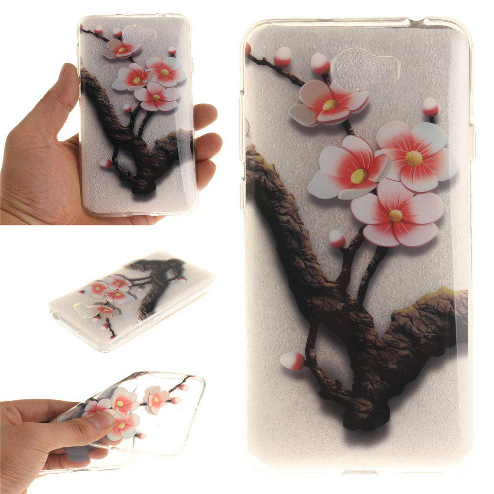 The Four Plum Flower Soft Clear IMD TPU Phone Casing Mobile Smartphone Cover Shell Case for Huawei Y5II - TRANSPARENT