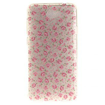 The Pink Flower Soft Clear IMD TPU Phone Casing Mobile Smartphone Cover Shell Case for Huawei Y5II - PINK