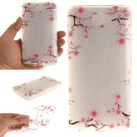 Up and Down The Plum Blossom Soft Clear IMD TPU Phone Casing Mobile Smartphone Cover Shell Case for Huawei Y5II - ROSE RED