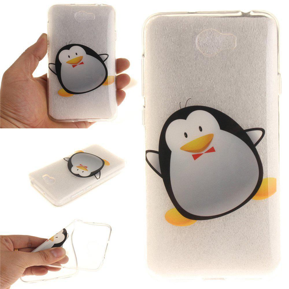 Cartoon Penguin Soft Clear IMD TPU Phone Casing Mobile Smartphone Cover Shell Case for Huawei Y5II - BLACK