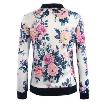 Women's Fashion Wild Printing Long-Sleeved Slim Jacket - WHITE M