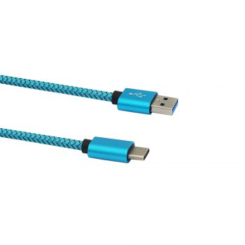 Minismile 3.4A Quick Charge 100cm / 20cm USB3.1 Type-C To USB Charging Data Transfer Cable - BLUE 100CM