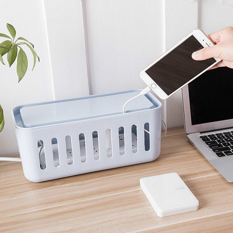 Desk Organizer Creative Unique Design Charging Cables Storage Box - BLUE