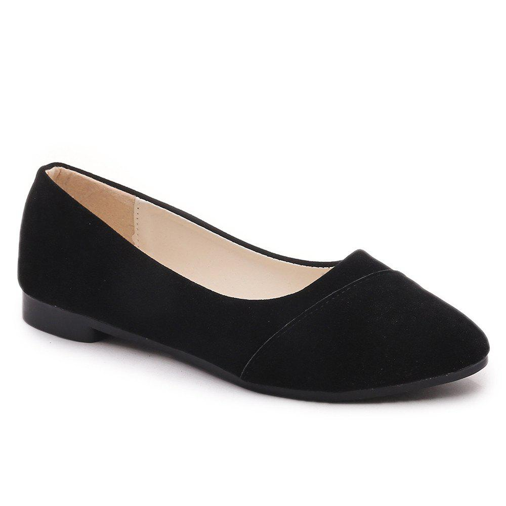 The Shallow Mouth Pointed Women's Shoes With Flat Sole - BLACK 40