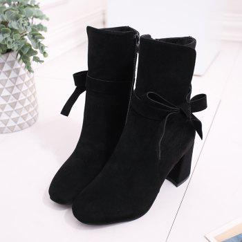 Thick Heel Lace Martin Boots - BLACK 38