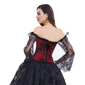 Women's Fashion Plastic Boned Overbust Corset with Long Floral Lace Sleeve - RED M