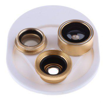 4 In 1 Clip Phone Lens Kit 198 Degree FishEye 0.63x Phone Lens -gold - GOLDEN GOLDEN