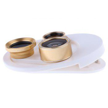 4 In 1 Clip Phone Lens Kit 198 Degree FishEye 0.63x Phone Lens -gold - GOLDEN