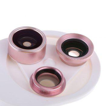 4 In 1 Clip Phone Lens Kit 198 Degree FishEye 0.63x Phone Lens -Rose Gold - ROSE GOLD