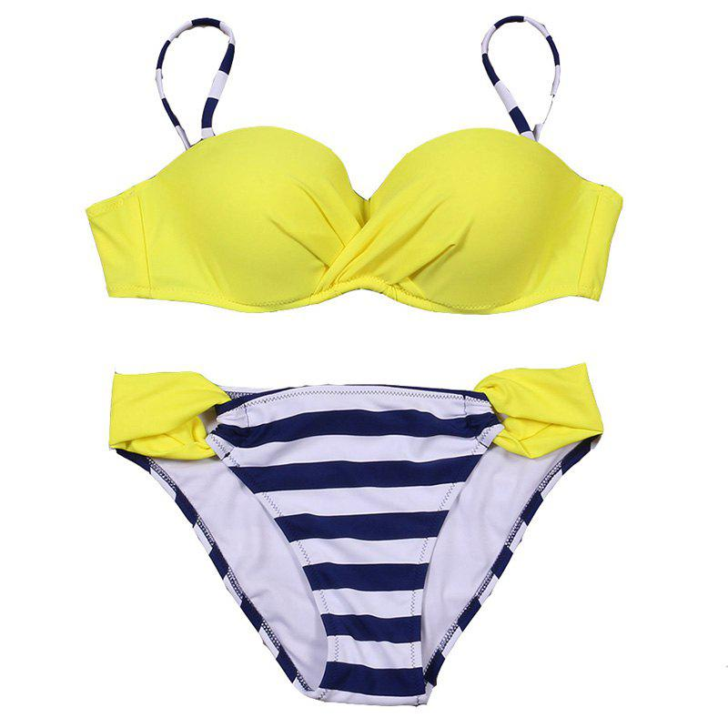 Ruched Halter Top Push Up Sexy Bikini Set - YELLOW STRIPES XL