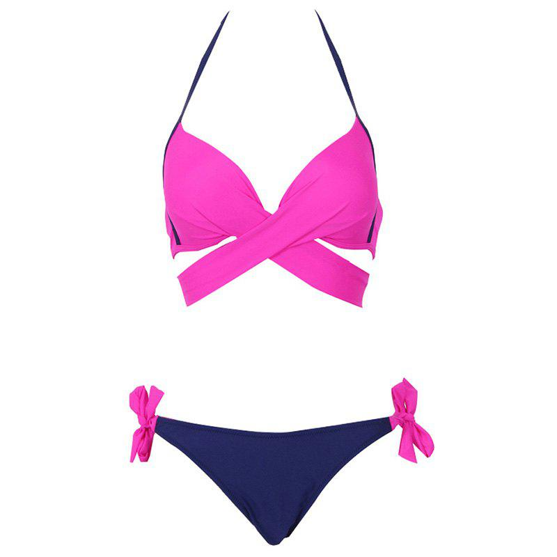 2018 Sexy Bikini Women Swimwear Cross Bandage Halter Bikini Set Beach Bathing Suit - SANGRIA M