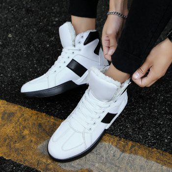 Men Fashion Outdoors Winter Warm Boots Cotton High Top Shoes Sneaker - WHITE 43