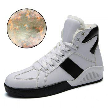 Men Fashion Outdoors Winter Warm Boots Cotton High Top Shoes Sneaker - WHITE 42