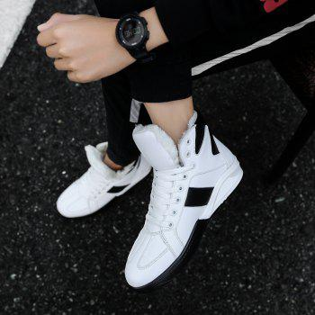 Men Fashion Outdoors Winter Warm Boots Cotton High Top Shoes Sneaker - WHITE 39