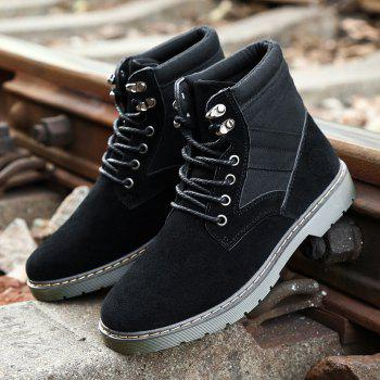 Men Fashion Boots Outdoors Casual High Top Black Shoes Sneaker - BLACK 44