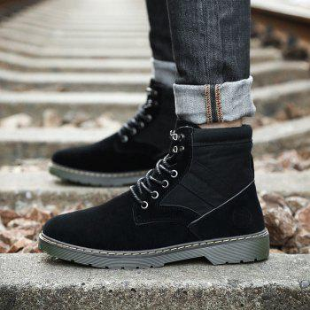 Men Fashion Boots Outdoors Casual High Top Black Shoes Sneaker - BLACK 41