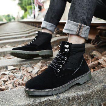 Men Fashion Boots Outdoors Casual High Top Black Shoes Sneaker - BLACK 42
